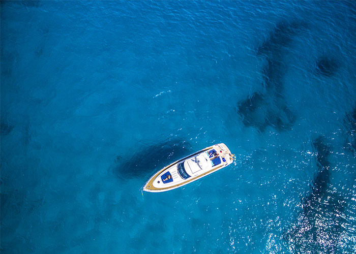 Sky view of anchored boat