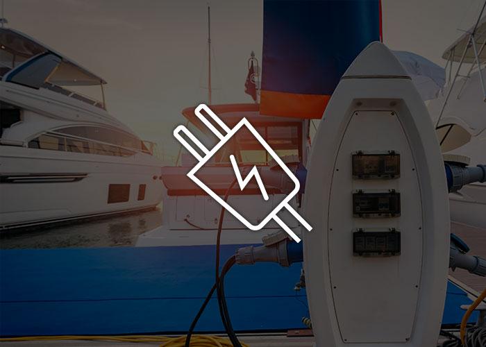 Show power socket at a marina